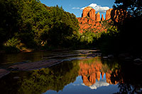 /images/133/2011-08-22-sedona-cathedral-90655.jpg - #09428: Reflection of Cathedral Rock in Sedona … August 2011 -- Cathedral Rock, Sedona, Arizona