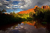 /images/133/2011-08-22-sedona-cathedral-pond-90781.jpg - #09431: Reflection of Cathedral Rock in Sedona … August 2011 -- Cathedral Rock, Sedona, Arizona