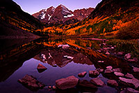 /images/133/2011-10-01-maroon-reflection-102842.jpg - #09562: Sunrise reflection of Maroon Bells in Colorado … September 2011 -- Maroon Bells, Colorado
