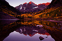 /images/133/2011-10-01-maroon-reflection-102893.jpg - #09563: Sunrise reflection of Maroon Bells in Colorado … October 2011 -- Maroon Bells, Colorado