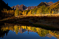 /images/133/2011-10-03-maroon-pond-103888.jpg - #09569: Pond reflection of Maroon Bells, Colorado … October 2011 -- Maroon Bells, Colorado
