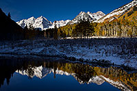 /images/133/2011-10-07-maroon-pond-snowy-105165.jpg - #09584: Snowy Pond reflection of Maroon Bells, Colorado … October 2011 -- Maroon Bells, Colorado