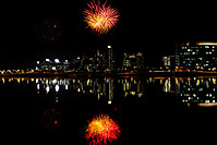 /images/133/2011-11-20-tempe-asu-fireworks-121292.jpg - #09843: Fireworks over ASU from Tempe Town Lake … November 2011 -- Tempe Town Lake, Tempe, Arizona