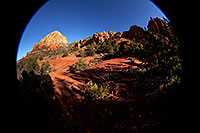 /images/133/2012-04-20-sedona-thunder-5d2_1198.jpg - #10163: Fisheye view of Thunder Mountain in Sedona … April 2012 -- Thunder Mountain, Sedona, Arizona