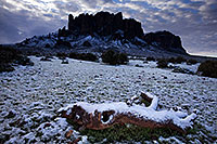 /images/133/2013-02-21-supers-log-snow-26560.jpg - #10809: Snow in Superstitions … February 2013 -- Lost Dutchman State Park, Superstitions, Arizona