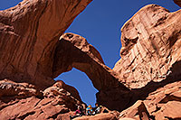 /images/133/2013-11-01-double-arch-1dx_4034.jpg - #11214: Italians at Double Arch in Arches National Park … November 2013 -- Double Arch, Arches Park, Utah
