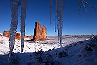 /images/133/2013-12-11-arches-courthice-1dx_2413.jpg - #11395: Icicles and Courthouse Towers in Arches National Park … December 2013 -- Courthouse Towers, Arches Park, Utah