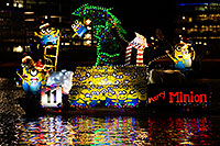 /images/133/2015-12-12-tempe-aps-lights-1dx_02953.jpg - #12793: Boat #11 with Minions at APS Fantasy of Lights Boat Parade … December 2015 -- Tempe Town Lake, Tempe, Arizona