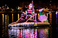 /images/133/2017-12-09-tempe-boats-lucla-5d4_1903.jpg - #14191: Boat #25 with Santa and Snowman at APS Fantasy of Lights Boat Parade … December 2017 -- Tempe Town Lake, Tempe, Arizona