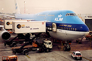 KLM Boeing 747-400 airplane docked at Chicago O