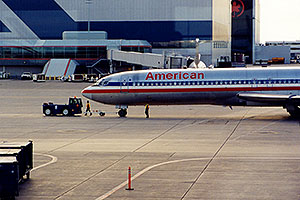 American  airplane towed at Chicago O