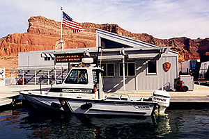 National Park Service motorboat … Dangling Rope Ranger Station, along Lake Powell