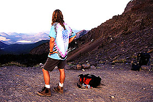 at the saddle at 8pm, still heading for the summit … hiking from Snowbowl to Humphreys Peak