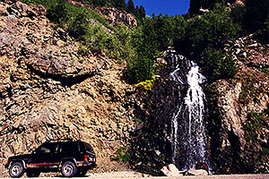 Waterfall by the road at Wolf Creek Pass