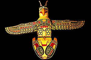 Indian bird Totem Pole