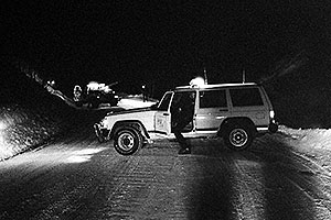 Sheriff`s Jeep blocking road …  Pulling out Toyota 4runner from the river at midnight