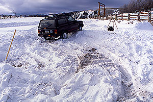 this was a snow field before 4 hours of shoveling … Phoenix-Toronto 3,500 mile snow-camping trip