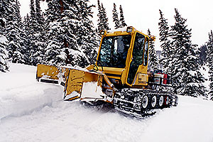snowcat on a trail by Leadville … Phoenix-Toronto 3,500 mile snow-camping trip