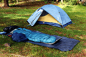 without tent, but tent ready in White Mountains