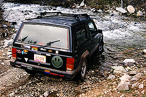 my Cherokee crossing a river