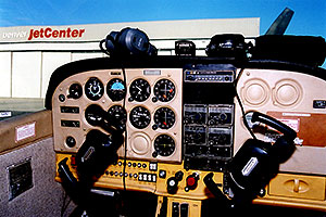 inside of a 4 seater Cessna at Centennial airport