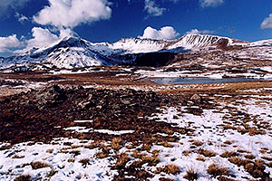 Pond at top of Independence Pass, and view of  Independence Mountain at 12,703 ft