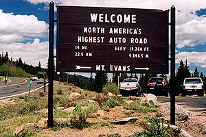 `Welcome - North Americas Highest Auto Road - elev 14,260 ft (4,346.5 meters) - 14 miles (22.5km)`(br)start of Mt Evans road, highest road in North America