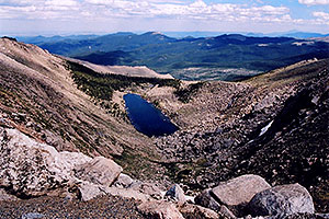 view of Lincoln Lake from Mt Evans road