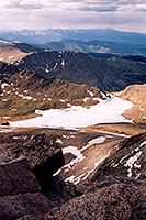view from top of Mt Evans towards Summit Lake
