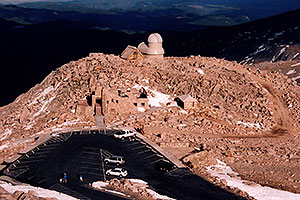 view at parking lot from Mt Evans summit