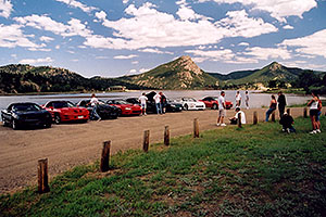 black, red and white Pontiac TransAm cars at Estes Lake
