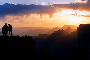 Silhouettes of Aneta, Ewka & Ola (left to right) during sunset in Grand Canyon