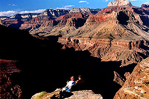 hikers at Plateau Point overlooking Colorado River of Grand Canyon
