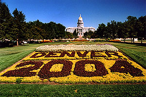 flowers spelling Denver 2004 with Parliament Building in the background