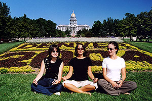 Oksana, Ola & Ewka in front of Denver Flowers, Parliament Building in the background