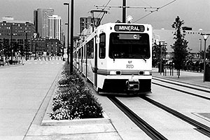 Streetcar leaving from Union Station in Denver