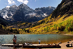 Maroon Lake (elev 9,580ft) in front of Maroon Bells (elev 14,156ft)