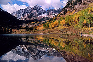 Maroon Bells reflecting in Maroon Lake