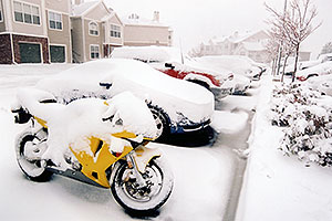 yellow motorcycle at Remington residence