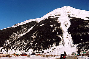 entering Silverton from Ouray side … March 2005