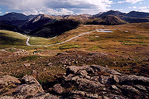 Road from Twin Lakes (left) to Independence Pass
