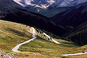 near top of Independence Pass; road from Twin Lakes (left)