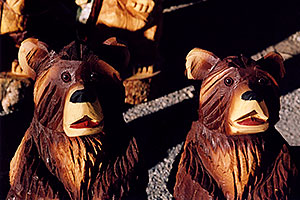 Carved Bear statues in Fairplay