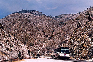 bus heading towards Golden, Clear Creek on the left … images of Clear Creek by Golden