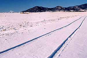 new car tracks in the snow … images of Wilkerson Pass & Hartsel