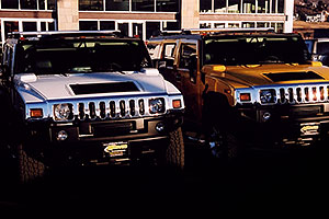 white and yellow H2 Hummers in Castle Rock