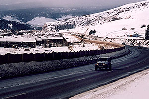 Jeep Wrangler driving on I-70 from Silverthorne towards Eisenhower Tunnel