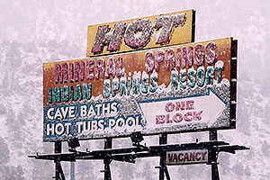 Hot Mineral Springs sign  … images of Idaho Springs
