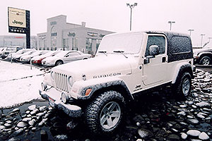 snowy white Jeep Wrangler at Lithia Jeep