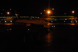Westjet plane at Toronto airport at night